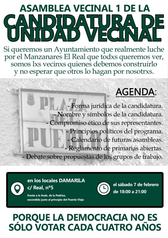 Cartel Asamblea 1 Candidatura Unidad Vecinal